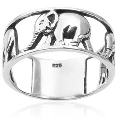 Tressa Collection Sterling Silver Elephant Ring ($23) ❤ liked on Polyvore