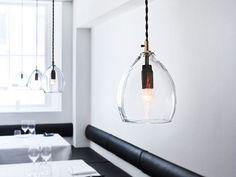 Unika is a mouth-blown glass pendant lamp, originally designed for Restaurant Grønbech and Churchill in Copenhagen.
