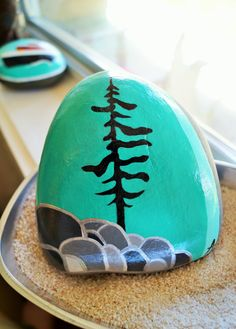Hand+painted+stone+Tree+silhouette+with+by+SunshineCoastStones