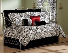 Astor-Elegant-Black-White-Damask-Daybed-Bedding-Comforter-Set-4-Pc-or-10-Pc