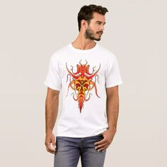 Shop Demon Tribal Tattoo - red and yellow T-Shirt created by FlowstoneGraphics. Personalize it with photos & text or purchase as is! Black Panther Tattoo, Yellow T Shirt, Baby Tattoos, Tribal Tattoos, Fitness Models, Unisex, Casual, Sleeves, Red