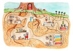 Rabbit Burrow Cross Section Print by JodiLynnDoodles on Etsy Illustration Inspiration, Book Illustration, Rabbit Burrow, Arte Elemental, Ecole Art, Model Train Layouts, Illustrations, Art Plastique, Elementary Art