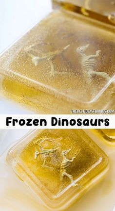 """Frozen Dinosaurs Activity - such a simple and fun activity for kids! Freeze dinosaur toys or fossil toys for kids to melt and """"excavate"""" the dinosaurs out. Halloween Crafts For Toddlers, Halloween Activities, Easy Crafts For Kids, Toddler Crafts, Preschool Crafts, Diy Crafts To Sell, Diy For Kids, Dinosaur Activities, Dinosaur Crafts"""