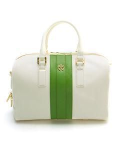 Look at this Tory Burch New Ivory Stripe Robinson Middy Leather Satchel on #zulily today!