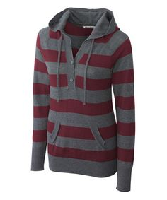 This Bordeaux & Gray Stripe Knockout Hooded Sweater - Women & Plus by Cutter & Buck is perfect! #zulilyfinds