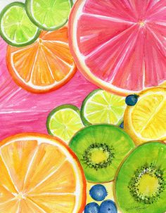 Citrus Watercolor Painting Kiwis, Grapefruit, Lemon, Orange, Limes, Grapes, Pineapple original, Tropical Fruit 8 x 10 kitchen art