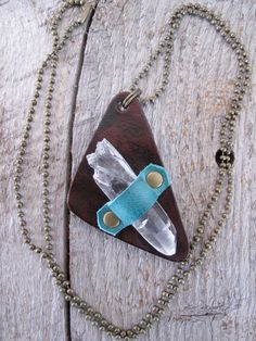 Crystal Point Necklace, Rustic Leather Jewelry, Crystal Pendant, Raw Quartz Point, Triangle Necklace, Tribal Jewelry