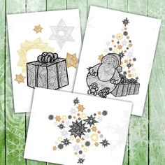 Christmas Card 3 pck with 3 designs. Christmas Themes, Christmas Cards, Spiral Art, Kraft Envelopes, Etsy Store, Create Your Own, How To Draw Hands, Packing, Illustrations