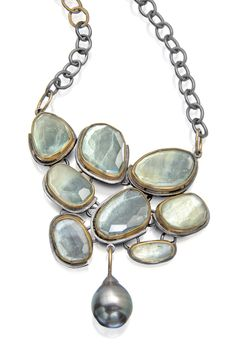 Sirena necklace, fit for a mermaid. Beryls and Tahitian pearl. http://sydneylynch.com #oneofakind #aquamarine #accbaltimore #cjdgjewelers #jckonline