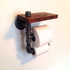 Double Toilet Paper Holder // Reclaimed Wood Pipe by Reclaimed PA. Perfect for bars and restaurants! Pipe Furniture, Industrial Furniture, Furniture Design, Steampunk Furniture, Furniture Vintage, Modern Furniture, Pipe Shelves, Floating Shelves, Rustic Shelves