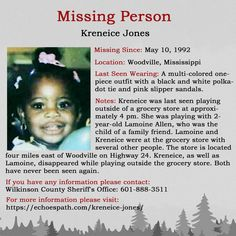 The disappearance of Kreneice Jones on May 1992 in Woodville, Mississippi. Where Are You Now, Amber Alert, One Piece Outfit, Missing Persons, Cold Case, Looking For Someone, True Crime, Grocery Store, Ghosts
