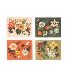 Rifle Paper Co. - Folk - Set Of 8 Folded Cards, 2 Of Each Design