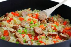 Skinny, Skillet Sausages and Cauliflower Rice with Weight Watchers Points | Skinny Kitchen Sausage Rice, Beef Recipes, Cooking Recipes, Healthy Recipes, Cooking Tips, Chicken Fried Cauliflower Rice, Low Carb Meats, Skinny Kitchen
