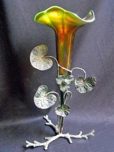 Art nouveau aurene glass art vase