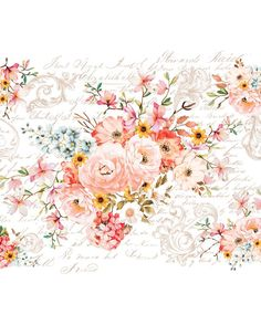 Prima Marketing Inc Redesign Transfer - Rose Celebration, Mixed Annie Sloan, Prima Marketing, Shabby Chic Vintage, Vintage Floral, Vintage Flowers, Rub On Transfers, Milk Paint, My New Room, Unique Home Decor