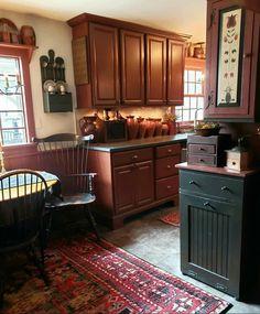 Kitchen Reno, New Kitchen, Kitchen Remodel, Kitchen Ideas, Kitchen Cabinets, Primitive Homes, Primitive Kitchen, Primitive Country, Country Decor