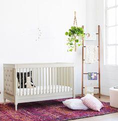 Franklin & Ben Everly upholstered crib distressed white