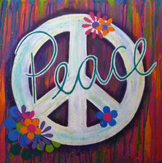 Groovy Peace Sign Painting by jessmarie5 on Etsy, $200.00