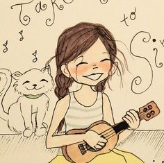 "Nursery Wall Art decor Children's Illustration ""Take Time to Sing"" print Girl with Ukulele and Cat"