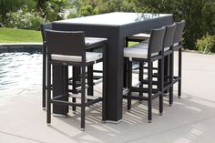 What are the advantages of getting an outdoor bar furniture? outdoor bar furniture shop by category - outdoor bar sets - pandora bar set for OUKIKFD Patio Bar Table, Bar Table And Stools, Bar Table Sets, Outdoor Bar Stools, Outdoor Chairs, Outdoor Bar Sets, Outdoor Patio Bar, Outdoor Ideas, Outdoor Storage