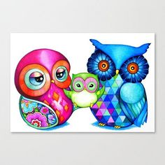 Baby and Parents  Happy Owl Family  Blank Card  by AnnyaKaiArt, $3.95