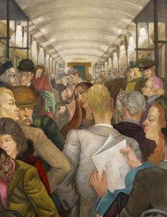 The Tube Carriage :: Edward Bainbridge Copnall :: Oil on board, signed 1954 Figure Painting, Painting & Drawing, Illustrations, Illustration Art, Gcse Art, First Art, London Art, Art Forms, Cool Art