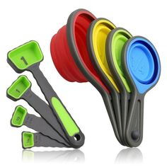 6. Measuring Cups and Spoons set, Collapsible Measuring Cups, 8 piece Measuring Tool
