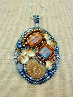 ECHOES Bead Embroidery Pendant by CindyCaraway on Etsy, $65.00