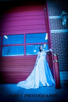 wedding, bridal, bride, dress, red fire door. By Grey Photography
