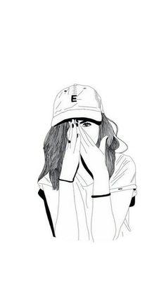 Tumblr Girl Drawing, Tumblr Drawings, Girl Drawing Sketches, Cute Girl Drawing, Girly Drawings, Girl Sketch, Cool Drawings, Cute Emoji Wallpaper, Cute Girl Wallpaper