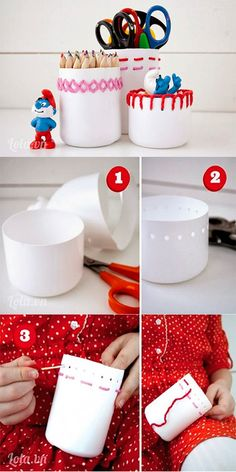 My DIY Projects: How To Make Embroidered Cans. Great way to introduce girls AND BOYS to a stitching project! upcycled plastic bottles into embroidered containers DIY Containers are empty bleach bottles, hole punched & embroidered. Do It Yourself Projects, Cool Diy Projects, Craft Projects, Craft Tutorials, Plastic Bottle Crafts, Plastic Bottles, Plastic Containers, Plastik Recycling, Pet Recycling