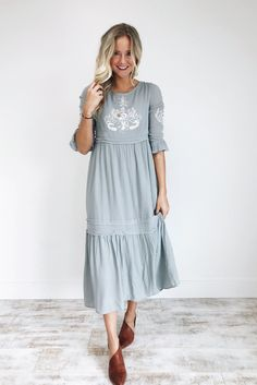 Sage Grey Embroidered Midi Dress | ROOLEE