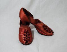 1940s Daniel Green Copper Satin Slippers, 7.5,   8