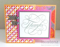 thanks Z-Fold card by Lisa Stenz using CTMH Dream Pop paper