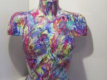 Büste Torso Skulptur Abstrakt bemalt Acrylmalerei  http://de.dawanda.com/shop/A-Winkler