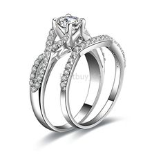 0.5ct ring SONA diamant jewelry solid sterling 925 silver engagement wedding rings band set #Affiliate