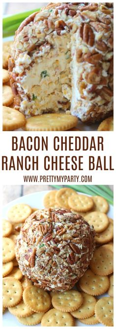 Best Cheddar Bacon Ranch Cheese Ball - Pretty My Party - Party Ideas - Cheese Recipes Cheese Ball Recipe Ranch, Delicious Cheese Ball Recipe, Cheese Ball Recipes, Cheddar Cheese Recipes, Cheese Dips, Delicious Dishes, Bacon Appetizers, Appetizer Recipes, Bacon Ranch Cheeseball