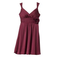 I might go with a wine color instead...pink is hard  to find :(  Women's Sleeveless Chiffon Dress w/Removable Flower - Fashion Colors
