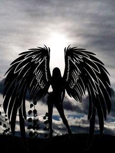 Gothic Fantasy Art, Gothic Fairy, Dark Fantasy, Sad Angel, Angel And Devil, Angel Silhouette, Angel Drawing, Ange Demon, Black Angels