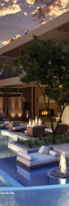 You can create a modern terrace and the poolside in the same place. Check please the amazing effect of the fireplace just back  in the small living room, each one of the elements create a nice environment . I would be there right now!.