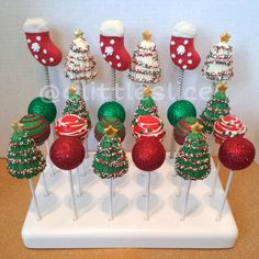Christmas cake pops - Christmas cake pop set of 24! Made by Christina Pagan & Yesenia Figueroa.  Find us:  Facebook.com/alittleslice1 & on Instagram @Tracey Edgell