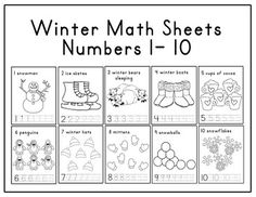 winter math sheets- numbers 1-10