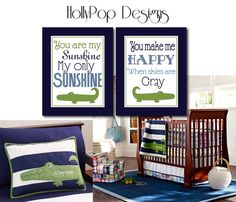 You Are My Sunshine Art Prints Pottery Barn Alligator Madras Boys Nursery Decor Navy Blue Green wall decor Idea bedroom playroom via Etsy
