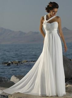 BEACH THEME - dress by Maggie Sottero; a simple chiffon gown perfect for any season and great for a beach look.