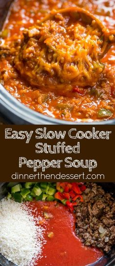 Slow Cooker Stuffed Pepper Soup is made with ground beef, bell peppers, onions and tomato sauce. All the flavors of your favorite stuffed peppers with half the effort.