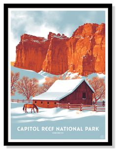 The newest entry in the Fifty-Nine Parks series comes courtesy of Claire Hummel. Capitol Reef National Park is an 18″ x 24″ screenprint for $40. Visit 59Par