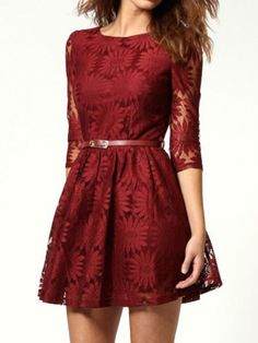 Wine Red Lace Dress with Belt Added - Choies.com