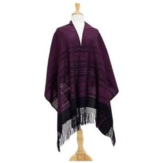 NOVICA Bright Pink and Black Cotton Handwoven Zapotec Shawl (310 PLN) ❤ liked on Polyvore featuring accessories, scarves, clothing & accessories, pink, shawls, fringed shawls, shawl scarves, wrap shawl, tie scarves and crochet shawl
