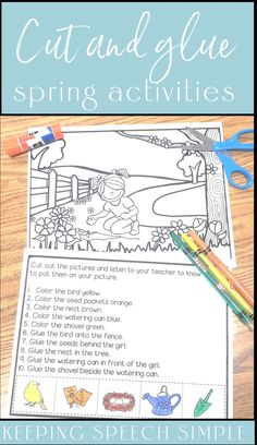 These no prep spring themed speech and language activities are a fun way to target spatial concepts and following directions with your kindergarten, elementary and preschool students. These language lessons are great for speech therapy, special education or home school.  Use these easy to use printable activities in distance learning packets. These activities target spring vocabulary, positional concepts and listening skills. These worksheets develop receptive and expressive language skills.
