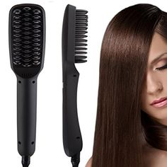 08bce27bffe4 Amazon.com   ShineMore Professional Ionic Hair Straightening Brush Anion  Comb PTC Ceramic Hair Care Tool For Natural Curly Hair (Black)   Beauty